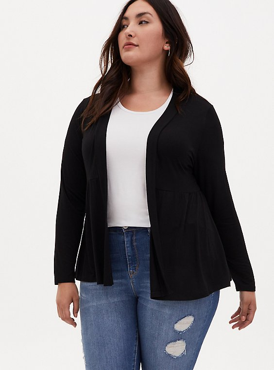 Super Soft Black Open Front Peplum Cardigan, DEEP BLACK, hi-res