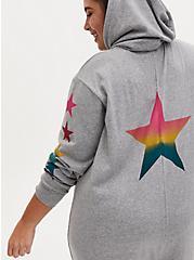 Grey & Rainbow Star Terry Sleep Onesie, GREY, alternate