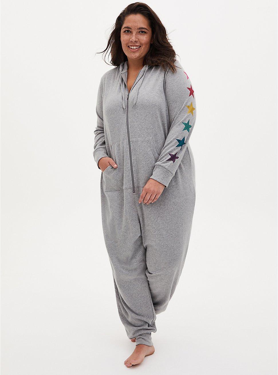 Grey & Rainbow Star Terry Sleep Onesie, GREY, hi-res