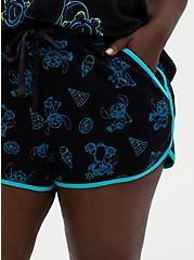 Disney Lilo & Stitch Neon Stitch Jersey Dolphin Hem Sleep Short, DEEP BLACK, alternate