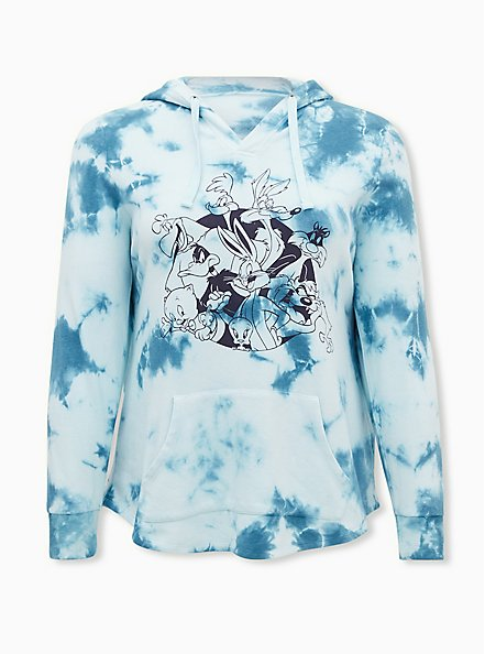 Looney Tunes Characters White & Blue Tie-Dye Hoodie, CLOUD DANCER, hi-res