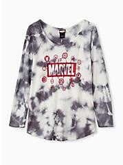 Marvel Logo Dark Slate Grey Tie-Dye Waffle Knit Top, NINE IRON, hi-res