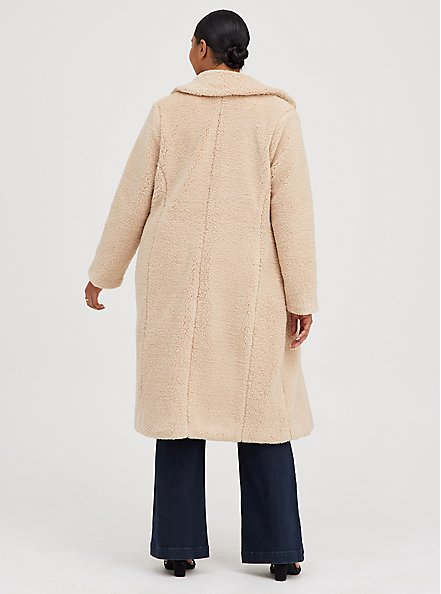 Beige Sherpa Open Front Longline Teddy Coat, MACCHIATO BEIGE, alternate