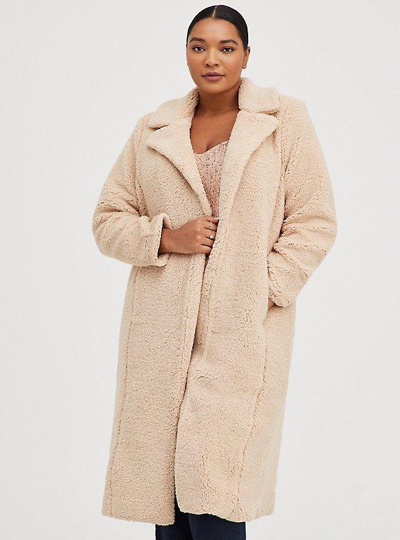 Beige Faux Fur Open Front Longline Teddy Coat, MACCHIATO BEIGE, hi-res