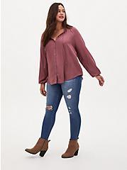 Walnut Striped Gauze Peasant Top, ROSE BROWN, alternate