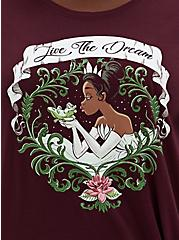 Disney Princess And The Frog Tiana Burgundy Purple Tie-Front Top, WING BLOWN ROSES, alternate