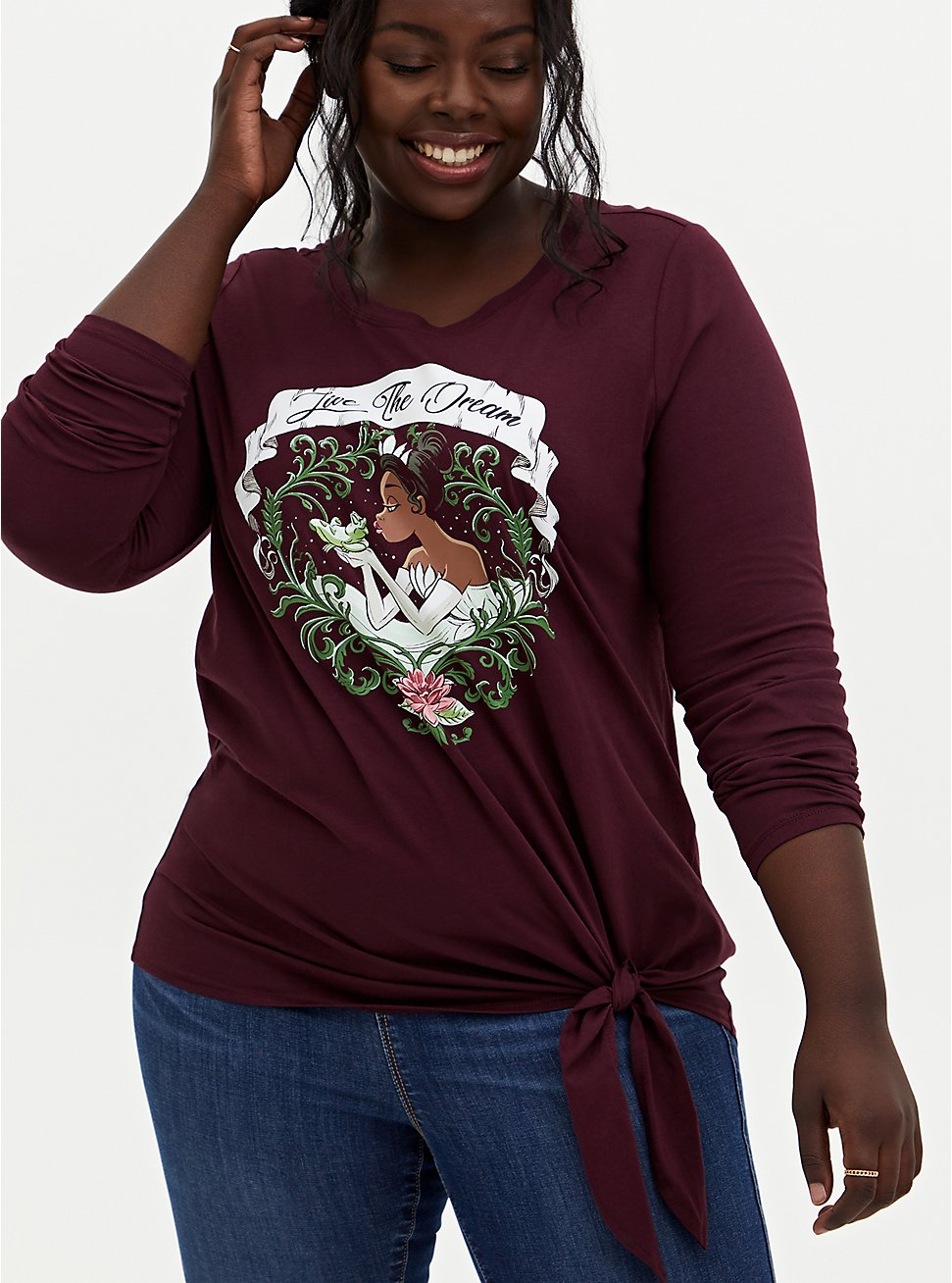 Disney Princess And The Frog Tiana Burgundy Purple Tie-Front Top, WING BLOWN ROSES, hi-res