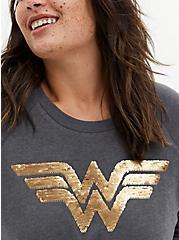 Wonder Woman Logo Flip Sequins Grey Fleece Sweatshirt, GREY HEATHER, alternate