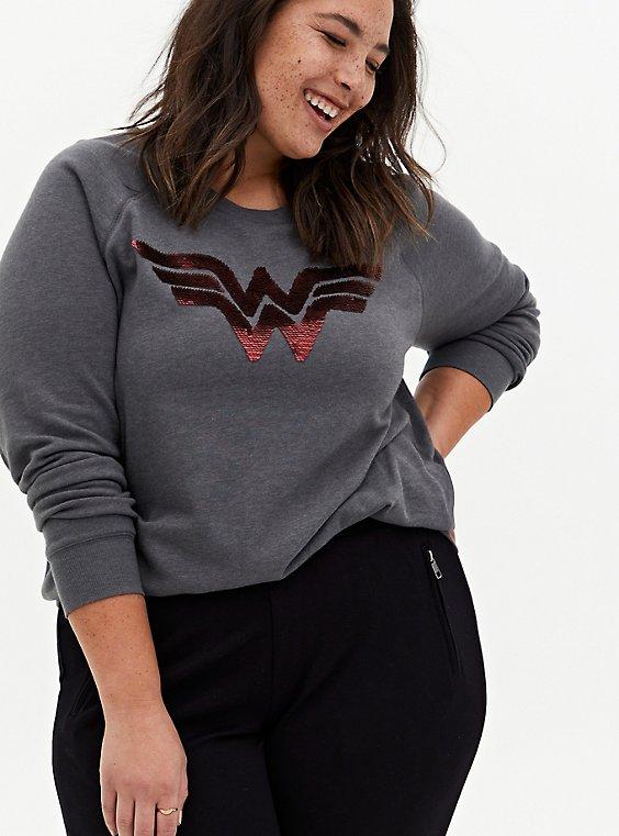 Wonder Woman Logo Flip Sequins Grey Fleece Sweatshirt, , hi-res