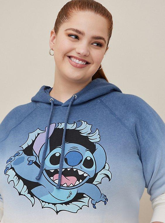 Disney Lilo & Stitch Blue Dip-Dye Fleece Hoodie, , hi-res