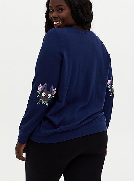 Her Universe Studio Ghibli Kiki's Delivery Service Jiji Navy Sweatshirt, MEDEVIAL BLUE, alternate
