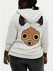 Her Universe Studio Ghibli Princess Mononoke Quarter Zip Hoodie, OATMEAL HEATHER, alternate