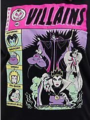 Disney Villains Comic Art Black Cold Shoulder Graphic Top , DEEP BLACK, alternate