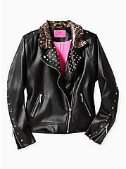 Betsey Johnson Black Faux Leather Leopard Trim Moto Jacket, DEEP BLACK, hi-res