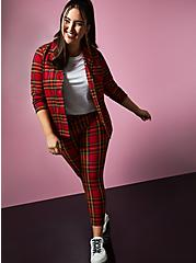 Betsey Johnson Red Plaid Premium Ponte Blazer, PLAID - RED, alternate