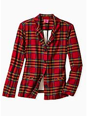 Betsey Johnson Red Plaid Premium Ponte Blazer, PLAID - RED, hi-res