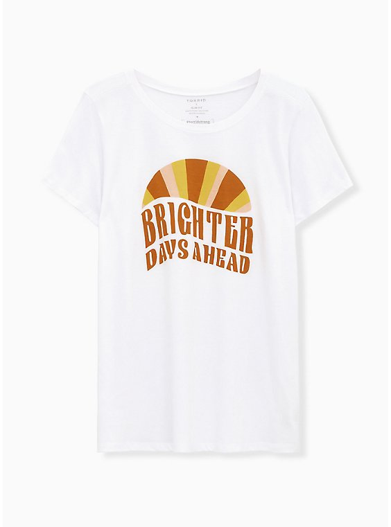 #TorridStrong Brighter Days Ahead Slim Fit Crew Tee – White, , hi-res