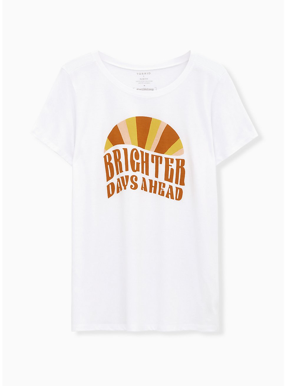 #TorridStrong Brighter Days Ahead Slim Fit Crew Tee – White, BRIGHT WHITE, hi-res