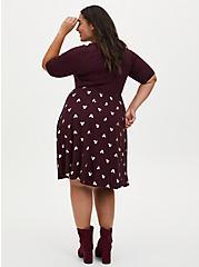 Disney Mickey Mouse Gold & Burgundy Purple Jersey Skater Dress, WINETASTING, alternate