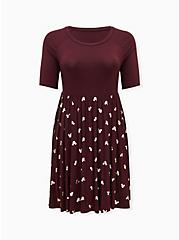 Disney Mickey Mouse Gold & Burgundy Purple Jersey Skater Dress, WINETASTING, hi-res