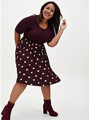 Disney Mickey Mouse Gold & Burgundy Purple Jersey Skater Dress, WINETASTING, hi-res