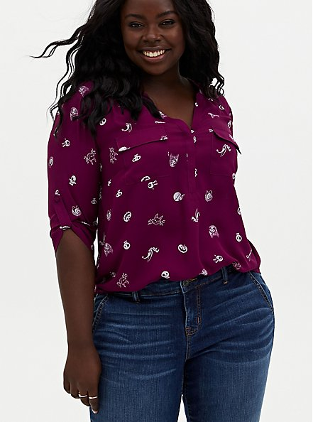 Harper - Disney The Nightmare Before Christmas Characters Georgette Pullover Blouse, MULTI, hi-res