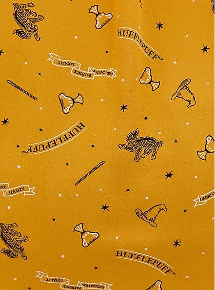 Harper - Harry Potter Hufflepuff House Yellow Georgette Pullover Blouse, MULTI, alternate
