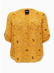 Harper - Harry Potter Hufflepuff House Yellow Georgette Pullover Blouse, MULTI, hi-res