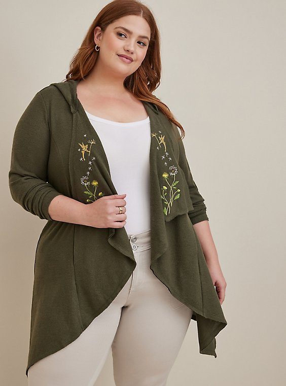 Disney Peter Pan Tinkerbell Embroidered Olive Green Super Soft Plush Cardigan , , hi-res