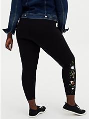 Plus Size Disney Beauty And The Beast Floral Black Crop Legging, BLACK, alternate