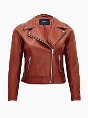 Tan Faux Leather Moto Jacket, COGNAC, hi-res