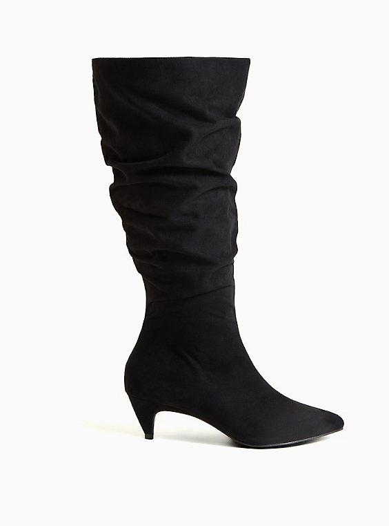 Black Faux Suede Slouchy Pointed Toe Knee-High Boot (WW), BLACK, hi-res