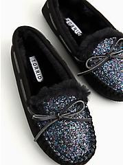 Black Faux Suede & Shimmer Slipper (WW), BLACK, alternate