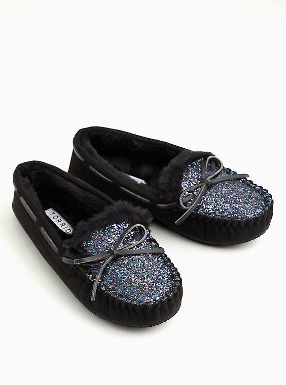 Black Faux Suede Shimmer Slipper (WW), BLACK, hi-res