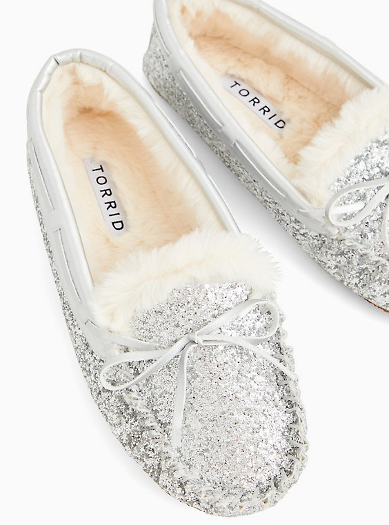 Silver Shimmer Slipper (WW), SILVER, hi-res
