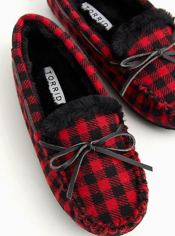 Red Plaid Slipper (WW), RED, hi-res