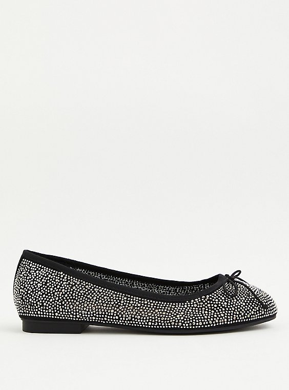Black Embellished Ballet Flat (WW), BLACK, hi-res