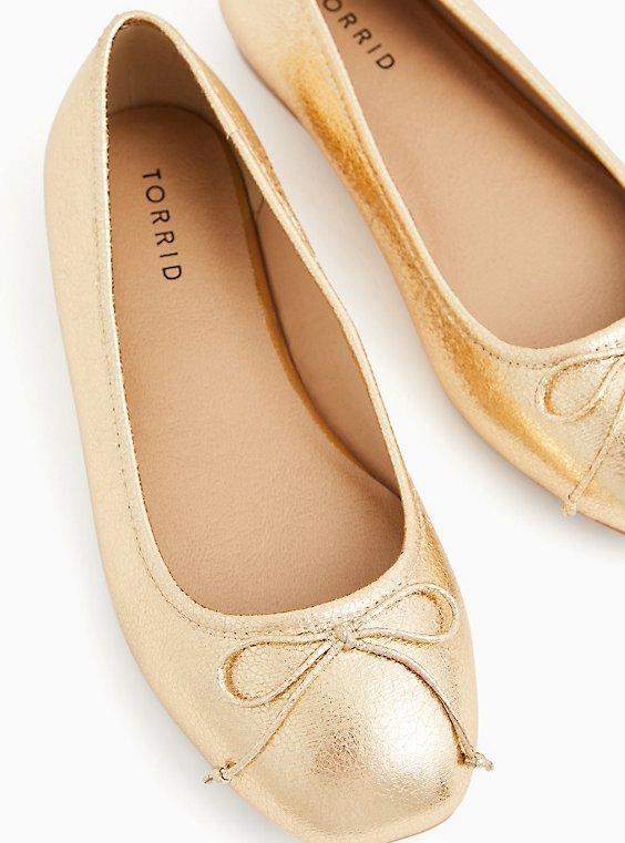Metallic Gold Faux Leather Ballet Flat (WW), GOLD, hi-res