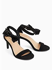 Black Faux Suede Ankle Bow Stiletto Heel (WW), BLACK, alternate