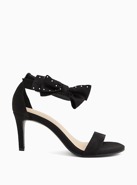 Black Faux Suede Ankle Bow Stiletto Heel (WW), BLACK, hi-res