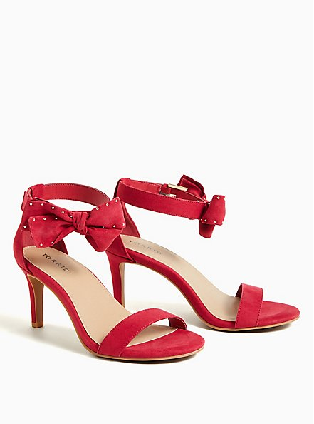 Red Faux Suede Ankle Bow Stiletto Heel (WW), RED, alternate