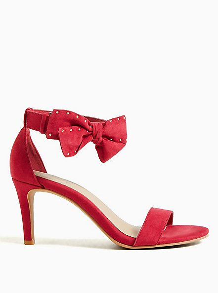 Red Faux Suede Ankle Bow Stiletto Heel (WW), RED, hi-res