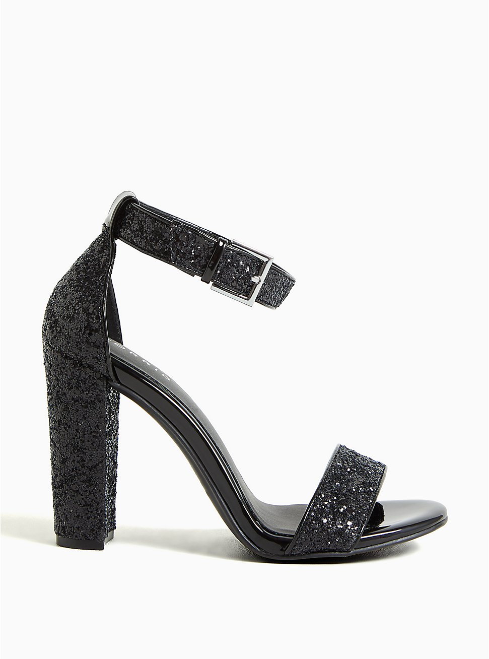Black Glitter Shimmer Tapered Heel (WW), BLACK, hi-res