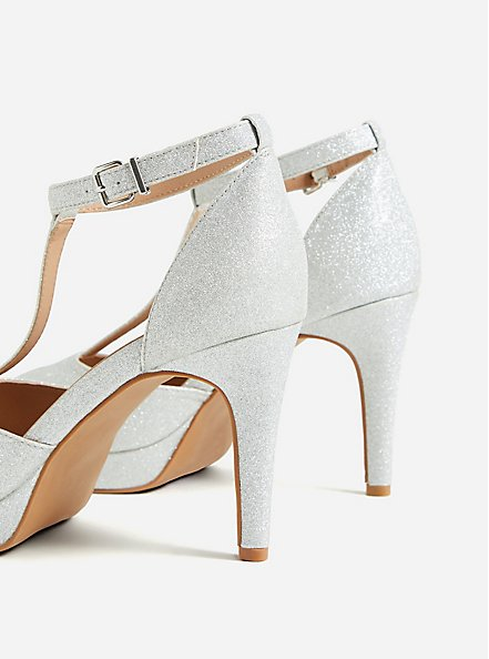 Silver Shimmer T-Strap Platform Heel (WW), SILVER, alternate