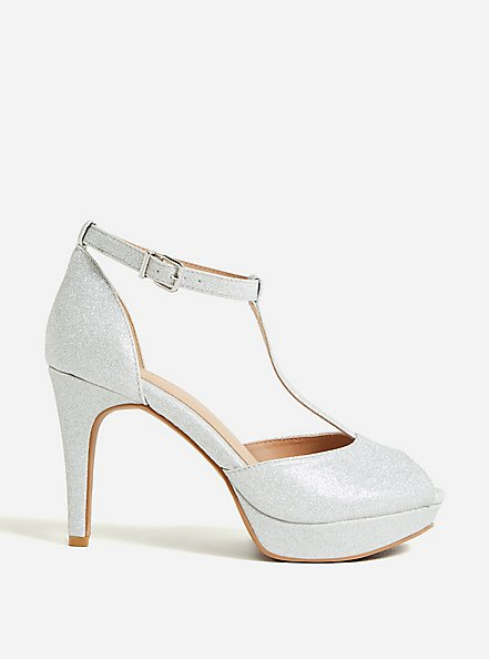Silver Shimmer T-Strap Platform Heel (WW), SILVER, hi-res