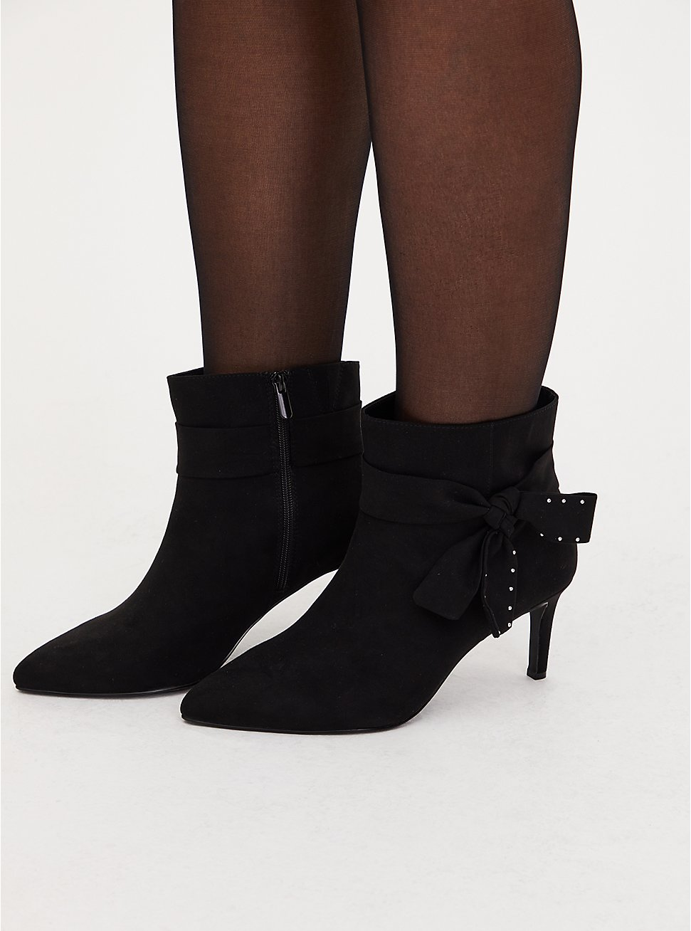 Black Faux Suede Side Bow Pointed Toe Booties (WW), BLACK, hi-res
