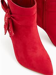 Plus Size Red Faux Suede Studded Side Bow Bootie (WW), RED, alternate