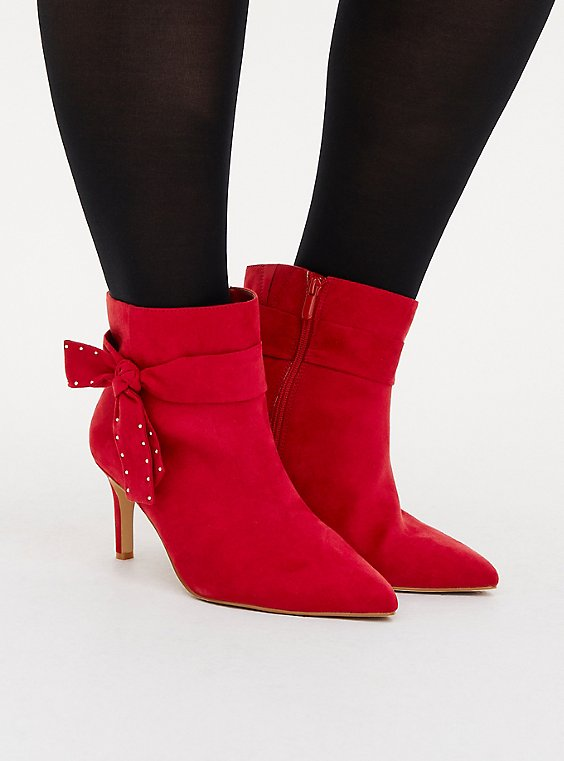 Red Faux Suede Studded Side Bow Bootie (WW), RED, hi-res