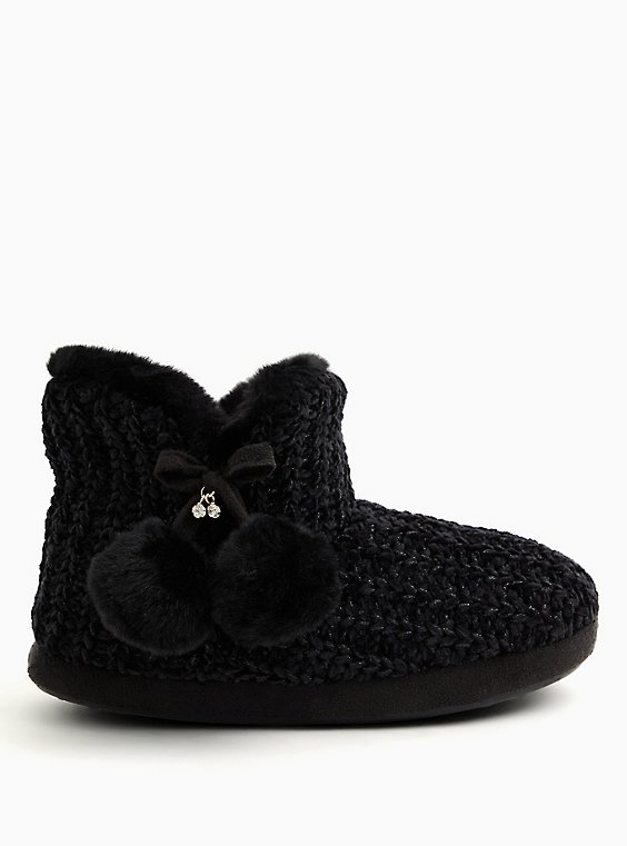 Black Chenille Bootie Slipper (WW), , hi-res