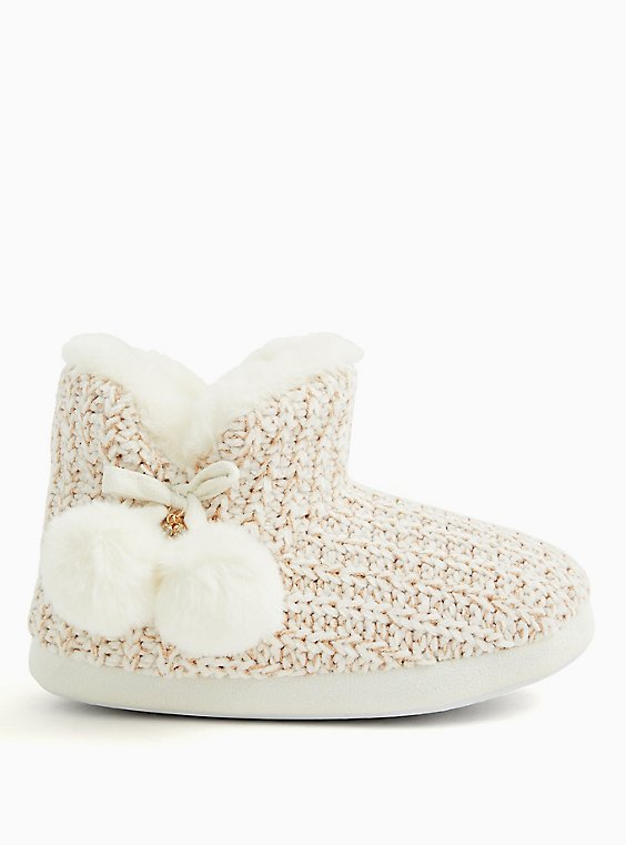 Ivory Chenille Bootie Slipper (WW), WHITE, hi-res
